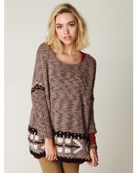 Free People | Brown Oversized Fairisle Trimmed Sweater | Lyst