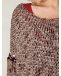 Free People - Brown Oversized Fairisle Trimmed Sweater - Lyst