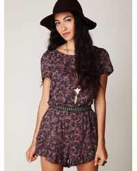 Free People | Purple Printed Short Sleeve Frill Romper | Lyst