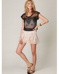 Free People | Black Embroidered Mesh Crop Top | Lyst