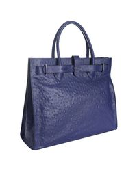 Furla | Blue Acai Ostrich Embossed Leather Greta Large Shopper Tote | Lyst