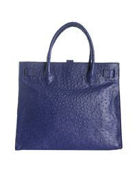 Furla | Blue Acai Ostrich Embossed Leather Greta Large Shopper Tote | Lyst