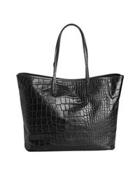Furla - Black Onyx Croc Embossed Leather Everyone Shopper Tote - Lyst