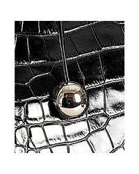 Furla - Black Onyx Crocodile Embossed Leather Giselle Medium Shoulder Bag - Lyst