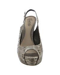 Gucci | Natural Beige Snakeskin Slingback Peep Toe Platform Pumps | Lyst