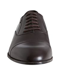 Gucci - Brown Leather Cap Toe Oxfords for Men - Lyst