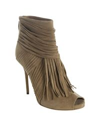 Gucci | Brown Suede Fringed Peeptoe Ankle Boots | Lyst