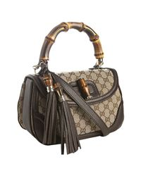 Gucci - Gray Ebony and Chocolate Gg Canvas New Bamboo Top Handle Tote - Lyst