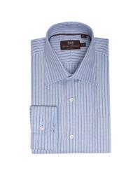 Hickey Freeman | Blue Jacquard Stripe Cotton Spread Collar Dress Shirt for Men | Lyst
