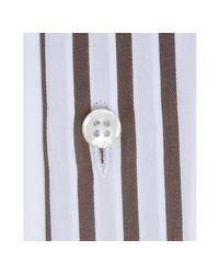 Hickey Freeman - Brown Striped Cotton French Cuff Spread Collar Dress Shirt for Men - Lyst