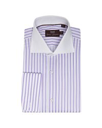 Hickey Freeman | Purple Stripe Cotton Contrast Spread Collar Dress Shirt for Men | Lyst