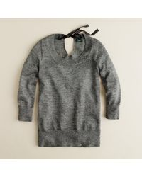 J.Crew | Gray Shimmer Bow Sweater | Lyst