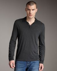 John Varvatos | Black Long-sleeve Polo, Sting Ray for Men | Lyst