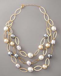 Majorica - White Multi-strand Baroque Pearl Necklace - Lyst