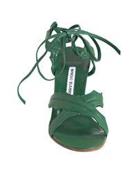 Manolo Blahnik   Green Leather Nevka Ankle Tie Leaf Sandals   Lyst