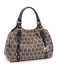 Michael Kors | Gray Large Bedford Monogram Tote, Beige/black | Lyst