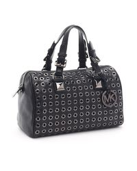 Michael Kors | Medium Grayson Grommet Satchel, Black | Lyst