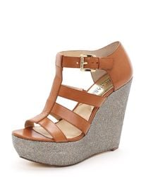 Michael Kors | Brown Faye Wedge Sandal | Lyst