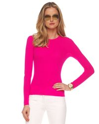 Michael Kors | Pink Featherweight Cashmere Top | Lyst