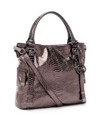 Michael Kors | Brown Large Darrington Python-embossed Shoulder Tote, Gunmetal | Lyst