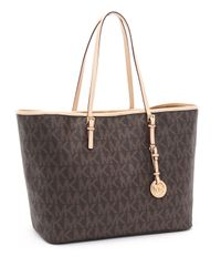 Michael Kors - Medium Jet Set Logo Travel Tote, Brown - Lyst