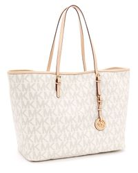 Michael Kors | White Medium Jet Set Logo Travel Tote, Vanilla | Lyst