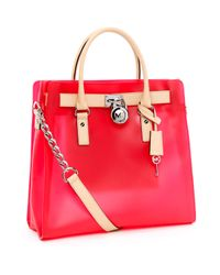 Michael Kors | Large Hamilton Frosted Jelly Tote, Neon Pink | Lyst
