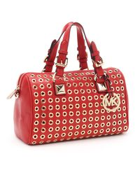 Michael Kors | Medium Grayson Grommet Satchel, Red/gold | Lyst