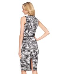 Michael Kors | Black Zebra-print Sheath Dress | Lyst