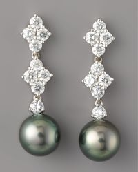 Mikimoto - Metallic Diamond & Black Pearl Drop Earrings - Lyst