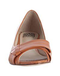 Pour La Victoire - Orange Patent Leather Rin Peep Toe Wedges - Lyst