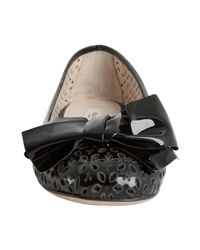 Prada - Black Eyelet Perforated Patent Leather Bow Flats - Lyst