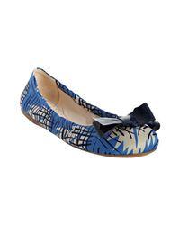 Prada | Blue Floral Satin Bow Detail Flats | Lyst
