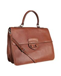 Prada - Brown Brandy City Calf Leather Convertible Satchel - Lyst