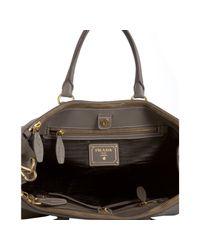 Prada - Gray Clay Leather Zipper Top Handle Bag - Lyst