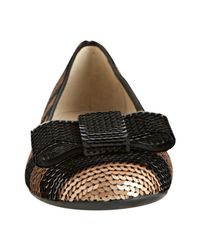 Prada   Nude and Black Sequin Bow Flats   Lyst