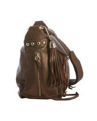 Rebecca Minkoff - Metallic Bronze Embossed Leather Beloved Mini Flap Crossbody Bag - Lyst