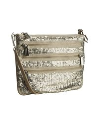 Rebecca Minkoff | Metallic Oatmeal Sequined Canvas 3 Zip Rocker Crossbody Bag | Lyst
