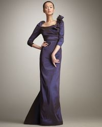 Teri Jon | Purple Three-quarter-sleeve Gown | Lyst