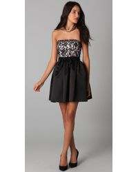 Shoshanna | Black Strapless Lace Dress | Lyst