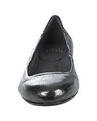 Stuart Weitzman - Metallic Gunmetal Patent Leather Dotsnot Flats - Lyst