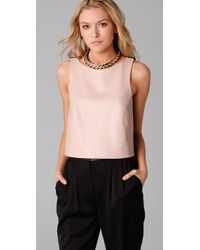 Tibi - Black Leather Tank Top with Ponte Combo - Lyst