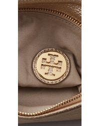 Tory Burch | Metallic Stacked Logo Small Reva Clutch | Lyst