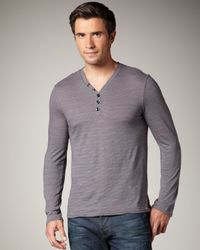 7 For All Mankind | Gray Striped V-neck Henley for Men | Lyst