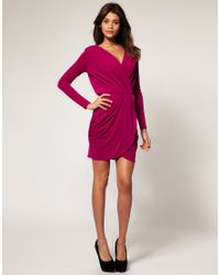 ASOS Collection - Blue Asos Drape Dress with Cross Front - Lyst