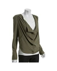 BCBGeneration | Green Moss Stone Woven Cowl Front Jacket | Lyst
