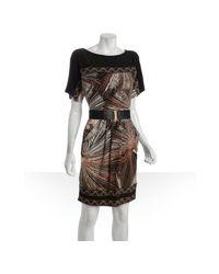 BCBGMAXAZRIA - Brown Nubuck Starburst Print Belted Pocket Dress - Lyst