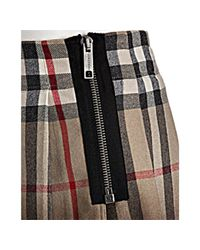 Burberry - Brown London New Classic Nova Check Wool Blend Pleated Skirt - Lyst