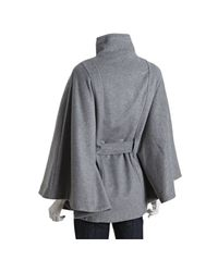 Calvin Klein - Gray Tin Wool Blend Belted Cape - Lyst