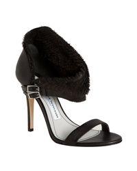 Camilla Skovgaard - Black Leather Frayed Collar Stiletto Sandals - Lyst